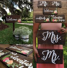 Calligraphy Wedding Signs See how you can make this beautiful DIY calligraphy signs to add a special touch to your big day.See how you can make this beautiful DIY calligraphy signs to add a special touch to your big day. Wooden Wedding Signs, Wedding Welcome Signs, Wedding Signage, Rustic Wedding, Do It Yourself Wedding, Plan Your Wedding, Wedding Planning, Wedding Ideas, Wedding Fun