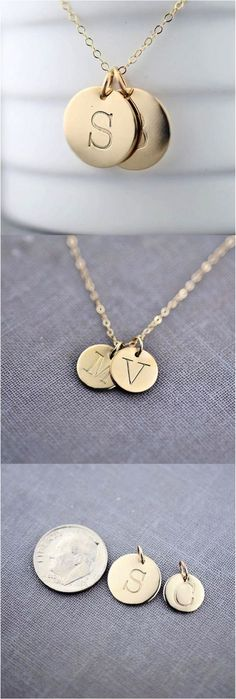 Personalized Twin Solid 14K Gold Initial Necklace by LilyEmmeJewelry. Wear your favorite letter on a recycled solid 14K gold pendant. You may choose any capital letter from typewriter font. Every pendant is hand-stamped and made-to-order | Made on Hatch.co: https://www.hatch.co/products/63991-twin-solid-14k-gold-initial-necklace#/