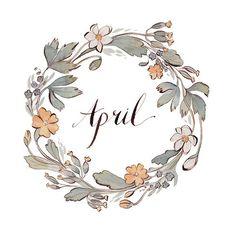 simply-divine-creation: Month of April Illustration by Kelsey Garrity-Riley Corona Floral, Grafik Design, Watercolor Flowers, Illustration Art, Artsy, Drawings, Creative, Seasons, Bullet Journal