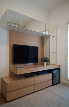 Modern Minimalist TV Desk Design Talking about decoration, room decoration becomes the most important part in beautifying the appearance of your home. Some electronic equipment and room furniture b… Home Theater Design, Home Interior Design, Tv Wall Design, House Design, Tv Cabinet Design, Modern Tv Wall Units, Modern Tv Room, Modern Tv Cabinet, Tv Unit Decor