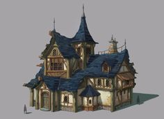 Medieval House,by Summer Kim Casa Medieval Minecraft, Medieval Houses, Medieval Town, Minecraft Houses, Fantasy Town, Fantasy House, Medieval Fantasy, Environment Concept Art, Environment Design