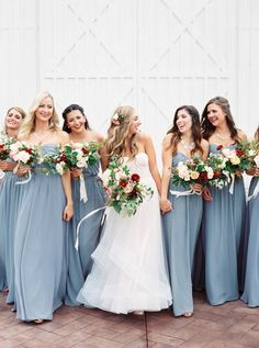 blue bridesmaid dresses from Quinlan, Texas wedding at the White Sparrow barn The White Sparrow Barn Quinlan Wedding