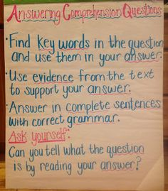 Great way to help remind students to write complete answers with text-based evidence.