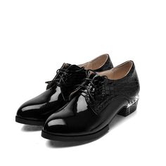 Size 32-43 Spring Autumn Ladies shoes Casual Lace Up Round Toe PU leather Med Heel Patchwork Oxford Women Shoe 3colour Black