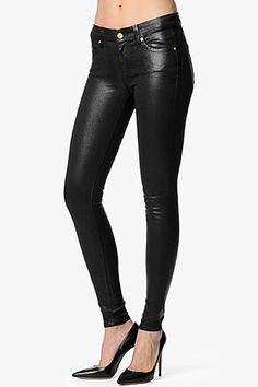 The Skinny in High Shine Leather-Like Black #7FAM.
