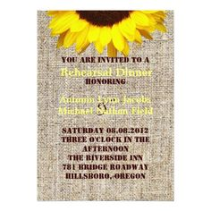Sunflower Wedding Rehearsal Dinner Rustic Burlap Sunflower Wedding rehearsal dinner Card