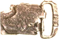 Buckle from Valtos, Uig, Isle of Lewis (Gordon, 1990) contained a bronze buckle plated with silver with a knotwork design on the place. found in female grave site.