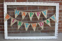 Happy Birthday Burlap Banner, Colorful, Birthday Party, Rainbow Colors