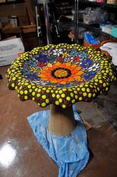 Cyndi H Barnes mosaic bird bath