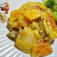 Scoop up this #scallopedpotato and #groundbeef #casserole