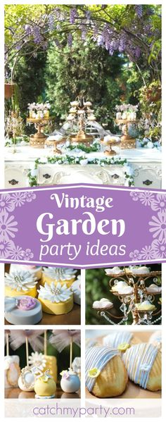 Step into this stunning vintage garden party wedding. The dresser dessert table is beautiful! See more party ideas and share yours at CatchMyParty.com