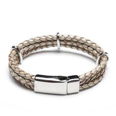 white brown leather braided bracelet with stainless steel clasp, stamp your logo on steel clasp 00481