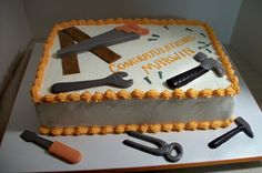 """A tool cake for a new handyman with white chocolate tools and fondant """"boards"""". Novelty Birthday Cakes, Homemade Birthday Cakes, Lightning Mcqueen Birthday Cake, Fondant Cake Tutorial, Dad Cake, Retirement Cakes, Tool Cake, Summer Cakes, Cakes For Men"""