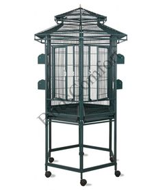 Features:- Bar Spacing: 5/8 ' '- Overall Height: 60 ' '- Dimensions: 30 ' ' height, by 32 ' ' length, by 32 ' ' depthIncludes:- 2 wood perches- 4 stainless steel cups- removable trays and grates- Non-toxic finish, Made from Iron-Wrought Steel- Beautiful baked Powder-CoatedThe HQ Hexagonal Bird Cage is good bird cage for:pionus, mini macaw, parakeets, conures, quakers, cockatiels and small parrots