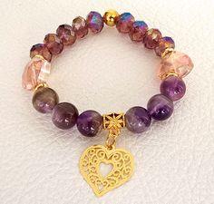 Risultati immagini per bisuteria Bead Jewellery, Beaded Jewelry, Stretch Bracelets, Bangle Bracelets, Bracelet Designs, Jewelry Organization, Wire Wrapped Jewelry, Handmade Bracelets, Jewelry Crafts