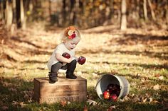 Just bought 2 wooden crates for 10 bucks! I cant wait to stain them and take adorable pictures like this!