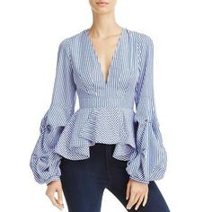 Alpha and Omega Striped Bell-Sleeve Top Women - Tops - Blouses & Shirts - Bloomingdale's Look Fashion, Hijab Fashion, Fashion Dresses, Fashion Design, Fashion News, Bow Tie Blouse, Blouse Dress, Blouse Styles, Blouse Designs