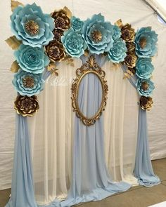 Quinceanera Party Planning – 5 Secrets For Having The Best Mexican Birthday Party Baby Shower Backdrop, Baby Shower Themes, Baby Boy Shower, Baby Shower Decorations, Shower Ideas, Paper Flower Decor, Flower Decorations, Paper Flowers, Wedding Decorations