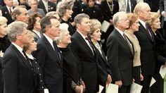 Bill Clinton, George H. W. Bush, Ronald Reagan, Jimmy Carter and Gerald Ford all attended the funeral of President Richard Nixon in Yorba Linda, California, on April 27, 1994.