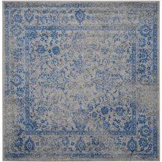 Safavieh Adirondack Kashan Gray/Blue Square Indoor Machine-Made Lodge Area Rug (Common: 10 x 10; Actual: 10-ft W x 10-ft L)