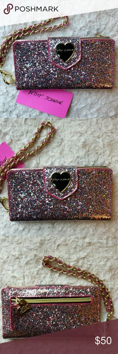 Betsy Johnson NWT Pink Sparkled Celly Wristlet NWT Betsy Johnson Pink  and Gold Sparkled Cell Phone Wristlet with Cc Slots and Pocket For Cell phone,  Zippered pocket outside,  Snap closure Betsy Johnson  Bags Clutches & Wristlets