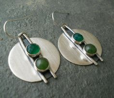 modern disk earrings sterling silver with by Q2jewelrycollection