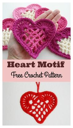 We have featured some heart shape crochet patterns before, but this Heart Motif Free Crochet Pattern looks extra special. Crochet Motifs, Freeform Crochet, Crochet Trim, Knit Or Crochet, Filet Crochet, Crochet Appliques, Crochet Things, Loom Knitting Patterns, Sewing Patterns