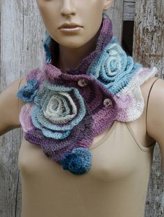 Freeform crochet Scarf unique desing Bridal womens scarf