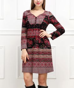 Look at this Red & Black Floral A-Line Button-Front Dress on #zulily today!
