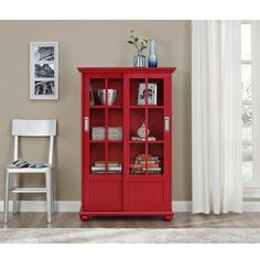 Window Pane Bookcase Lane Sliding Glass Door Contemporary Wood Style Red  #Ameriwood