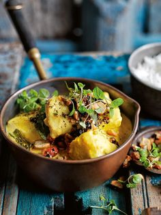 Turmeric Coconut Fish Curry - The aromatic blend of flash-fried herbs and aromatic spices makes this curry the perfect dinner companion. Fish Dishes, Seafood Dishes, Seafood Recipes, Indian Food Recipes, Asian Recipes, Cooking Recipes, Salmon Recipes, Turmeric Recipes, Coconut Recipes
