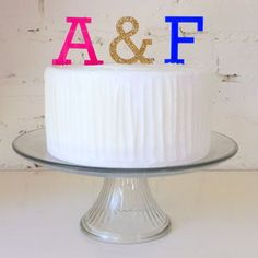 Initials With Ampersand Cake Topper - cake decoration