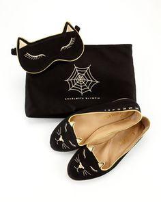 Charlotte Olympia Satin Kitty Slippers & Eye Mask Set, Black - Bergdorf Goodman | cynthia reccord