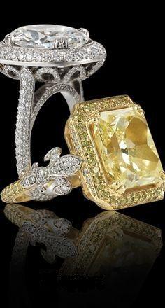 Fleur De Lis colored Diamond rings via: