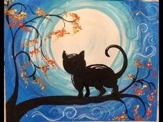 Step by step painting. Learn how to paint a cat and moon with Tracie& acrylic canvas painting tutorials! All tutorials are free and meant for beginners. Canvas Painting Designs, Fall Canvas Painting, Canvas Painting Tutorials, Moon Painting, Simple Acrylic Paintings, Autumn Painting, Acrylic Canvas, Painting Lessons, Canvas Art