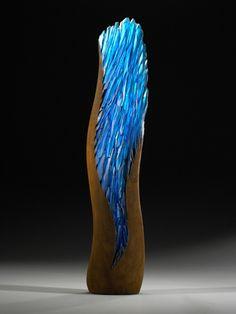 "*Art Glass - ""Electric Blue Spring"" by Alex Gabriel Bernstein"