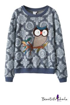 Owl Pattern Round Neck Sweatshirt with Lace Insert from www.beautifulhalo.com