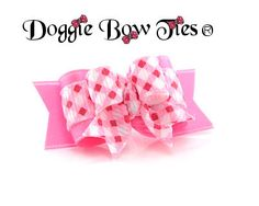 Tiny Ties Pink and Red Basket Weave by Doggie Bow Ties