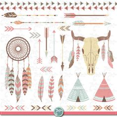 "Tribal Clipart pack ""INDIAN CLIP ART"",teepee tents, dream catcher, feathers, arrows, borders, indian clip art, wedding invitation Trb003 by YenzArtHaut on Etsy https://www.etsy.com/listing/222082659/tribal-clipart-pack-indian-clip"