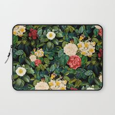 Check out society6curated.com for more! @society6 #floral #flowers #pattern #laptop #computer #case #sleeve #electronic #accessory #accessories #fashion #style #student #college #gift #idea #fun #unique #art #artsy #design #cool #awesome #red #cream #green #yellow #white