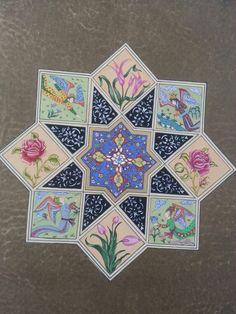 Tasarım AYŞEN DEMİRELLER Islamic Art Pattern, Arabic Pattern, Pattern Art, Ebru Art, Illumination Art, Arabic Calligraphy Art, Decoupage Paper, Geometric Designs, Arabesque