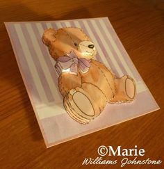 The finished result of the paper tole layering teddy image