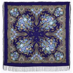 Russian Pavlovo Posad Wool Shawl blue Large by russianicon on Etsy