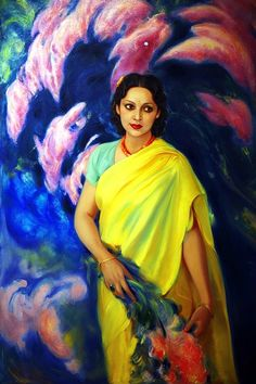 sisterwolf:  Devika Rani Chaudhuri  Devika Rani by Svetoslav Roerich c1946  Portrait of early Indian film actress Devika Rani, painted by her husband, Russian artist, Svetoslav Roerich.