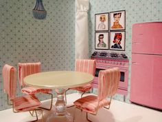 Barbie / Doll house each room is made from a 3-ring binder.  Go to the site to see all 4 rooms.  Just fold the binders up and store on a shelf when not in use.