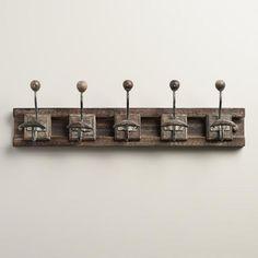 Gray 5-Hook Wood Block Wall Storage   World Market