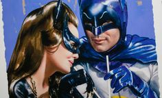 The Meanwhile at the Sweet Shoppe Batman & Catwoman Art Print by Olivia De Berardinis available at Sideshow.com for fans of the 66 Batman TV show.