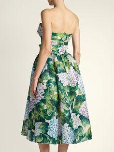 Hydrangea-print organza strapless dress   Dolce & Gabbana   MATCHESFASHION.COM