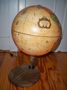 Vintage World Globe Lamp Antique - light Scan-globe -Denmark - Mid century style