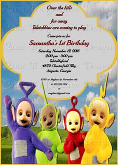 Teletubbies Birthday Party Invitation, Childs tv show teletubbie Party Invitation by SurineDigitals on Etsy 1st Birthday Themes, Birthday Invitations Kids, 1st Boy Birthday, First Birthday Parties, Birthday Party Decorations, First Birthdays, Birthday Ideas, Birthday Cards, Daisy Party